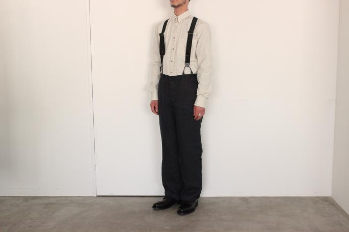 GARMENT REPRODUCTION OF WORKERS<br /> FARMERS TROUSERS <br /> COLOR / Black,Ecru<br /> SIZE / 0,1<br /> Made in Japan<br /> PRICE / 34,000+tax<br /> <br /> DE BONNE FACTURE<br /> CASUAL SHIRT<br /> COLOR / Ecru<br /> SIZE / 38,39<br /> Made in France<br /> PRICE / 34,000+tax<br /> <br /> SANDERS<br /> PUNCHED CAP DERBY SHOE<br /> COLOR / Black<br /> SIZE / 6h,7h,8<br /> Made in England<br /> PRICE / 42,000+tax