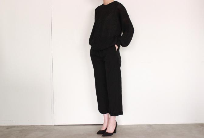 CristaSeya<br /> Paper Sweater<br /> COLOR / Black<br /> SIZE / S, M<br /> Made in Italy<br /> PRICE / 72,000+tax<br /> <br /> CristaSeya<br /> Pyjama Pants<br /> COLOR / Black<br /> SIZE / XS, S<br /> Made in France<br /> PRICE / 60,000+tax<br /> <br /> MICHEL VIVIEN<br /> Giulia<br /> COLOR / Nero<br /> SIZE / 36,36.5, 37, 37.5, 38<br /> Made in Italy<br /> PRICE / 79,000+tax