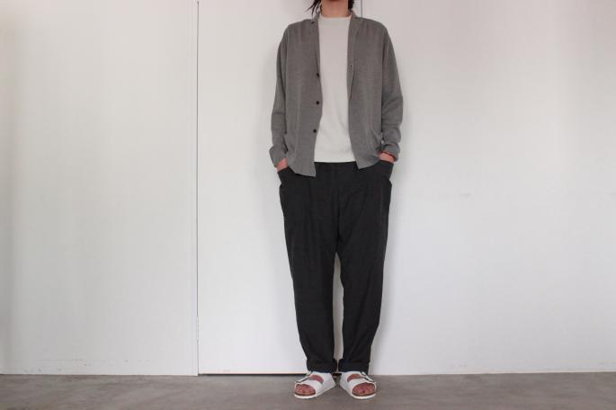 COMOLI<br /> Cotton Silk Knit Jacket<br /> COLOR / Gray,Navy<br /> SIZE / 1,2<br /> PRICE / 36,000+tax<br /> <br /> Phlannel<br /> Suvin Cotton Pocket T-shirt<br /> COLOR / White, Gray, Navy, Black<br /> SIZE / S,M,L<br /> PRICE / 9,500+tax<br /> <br /> COMOLI<br /> Typewriter Draw String Pants<br /> COLOR / Gray<br /> SIZE / 1,2<br /> PRICE / 28,000+tax<br /> <br /> BIRKENSTOCK<br /> Arizona<br /> COLOR / WHITE,BLACK<br /> SIZE / 36,37,38,39,40,41,42<br /> PRICE / 6,600+tax<br /> <br />