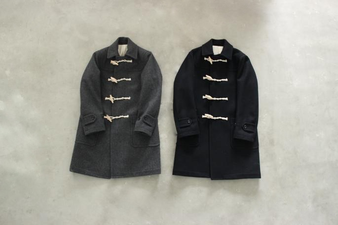 Phlannel<br /> Melton Duffle Coat <br /> COLOR / Gray,Navy<br /> SIZE / S,M,L<br /> Made in Japan<br /> PRICE / 60,000+tax<br /> <br /> Phlannel<br /> Super Fine Melton Tapered Trousers<br /> COLOR / Moss Green,Navy<br /> SIZE / S,M,L<br /> Made in Japan<br /> PRICE / 28,000+tax<br /> <br /> YOUNG&amp;OLSEN The DRYGOODS STORE<br /> Gymnasium Shoes Suede<br /> COLOR / Sand Gray<br /> SIZE / 8,9,9h<br /> Made in Japan<br /> PRICE / 16,000+tax