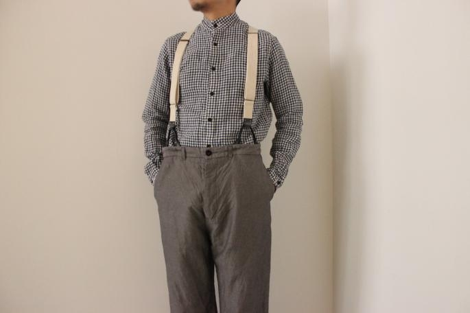 HEIGHT / 168cm<br /> WEAR SIZE / Stand Farmers Shirts 3,Famers Trousers  1<br /> <br /> GARMENT REPRODUCTION OF WORKERS<br /> <br /> Stand Farmers Shirts<br /> COLOR / Blue Gingham<br /> SIZE / 3,4<br /> PRICE / 24.000+tax <br /> <br /> Famers Trousers <br /> COLOR / Gray,Black<br /> SIZE / 0,1<br /> PRICE / 34.000+tax <br />