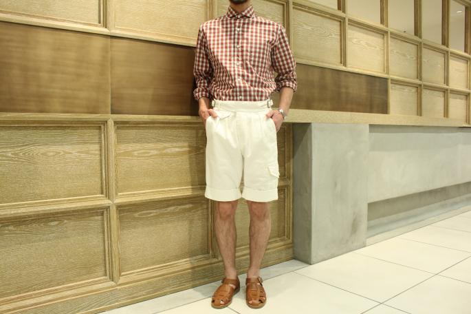 HEIGHT / 169㎝<br /> WEAR SIZE / S<br /> <br /> KENNETH FIELD <br /> Gurka Shorts Herringborn <br /> COLOR / White<br /> SIZE / 30<br /> Made In Japan<br /> PRICE / 26,000+tax<br /> <br /> Paraboot<br /> Pacific<br /> COLOR / Brandy,Noir<br /> SIZE / 40,41<br /> Made In France<br /> PRICE / 34,000+tax<br />