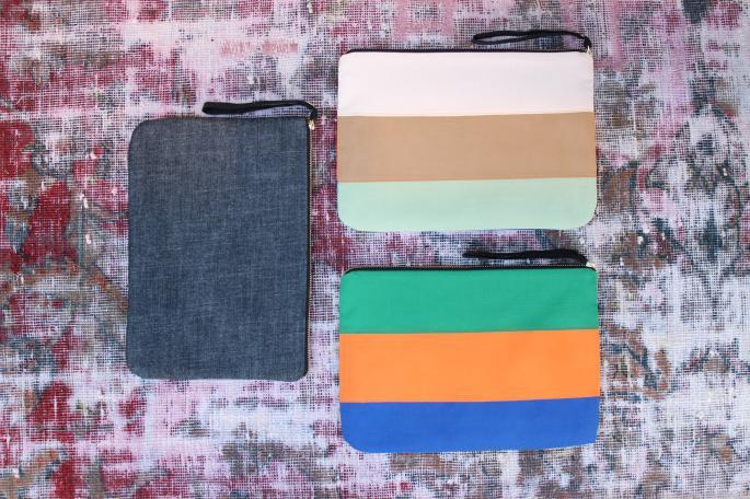 Jennifer Ouellette<br /> Denim Bag iPad Case<br /> PRICE / 8,000+tax (Top)<br /> Border Grosgrain Bag iPad Case<br /> Made in USA<br /> PRICE / 12,000+tax (Center&Under)<br /> <br /> <br />