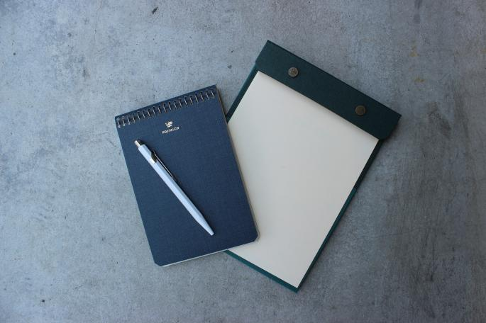 POSTALCO<br /> Snap Pad A5<br /> COLOR / Peacock Green,Faded Black,Ice Blue<br /> Made in JAPAN<br /> PRICE / 3,600+tax<br /> <br /> POSTALCO<br /> Notebook A5<br /> COLOR / Apple Green,Dark Blue ,Signal Red <br /> Made in JAPAN<br /> PRICE / 1,900+tax<br /> <br /> CARAN d´ACHE<br /> Ballpoint pen (849 Collection)<br /> COLOR / White,Red,Blue,Black<br /> Made in SWITZERAND <br /> PRICE / 2,800+tax <br /> <br />