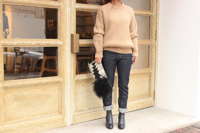 Crista Seya <br /> Camel Swetaer <br /> COLOR / Camel<br /> SIZE / S,M<br /> Made in France<br /> PRICE / 110,000+tax<br /> <br /> SOSO PHLANNEL<br /> Selvedge Denim<br /> COLOR / Indigo<br /> SIZE / 34.36.38<br /> Made in JAPAN<br /> PRICE / 22,000+tax<br /> <br /> SARTORE<br /> Side gore boots<br /> COLOR / Camel,Navy<br /> SIZE / 35.5 36 36.5 37 37.5<br /> Made in Italy<br /> PRICE / 82,000+tax<br /> <br /> TOTeM Salvaged<br /> Rum Fur Clutch<br /> SIZE / One Size(Left)<br /> Made in USA<br /> PRICE / 35,000+tax <br /> <br />