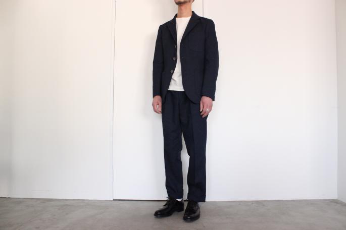 Phlannel MAN <br /> Wool Denim Blazer<br /> COLOR / Navy<br /> SIZE / S,M,L<br /> Made in Japan<br /> PRICE / 42,000+tax<br /> <br /> Phlannel MAN <br /> Wool Denim Trousers<br /> COLOR / Navy<br /> SIZE / S,M,L<br /> Made in Japan<br /> PRICE / 28,000+tax<br /> <br /> SANDERS<br /> Punched Cap Derby Shoe<br /> COLOR / Black<br /> SIZE / 6H,7H,8<br /> Made in England<br /> PRICE / 42,000+tax