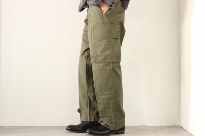 Vintage <br /> 60s M-47 Field Pants Dead Stock<br /> SIZE / 21<br /> Made in France<br /> PRICE / 13.000+tax<br /> <br /> forme <br /> Buttoned Up Shoes<br /> COLOR / Black<br /> SIZE / 5,5h,6,6h<br /> Made in Japan<br /> PRICE / 74,000+tax