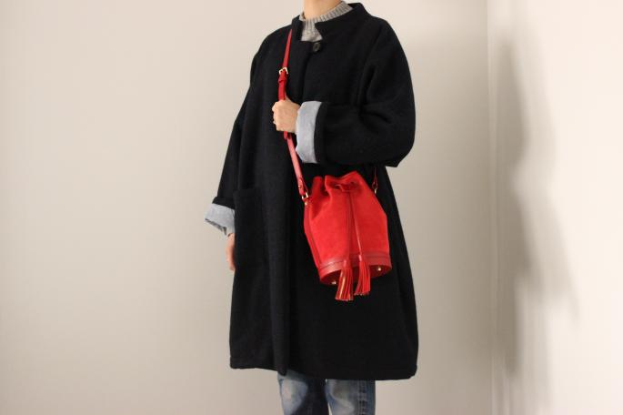FAUSTINE PARIS  <br /> Bucket Bag <br /> COLOR / Poppy Red<br /> Made in France<br /> PRICE / 120,000+tax