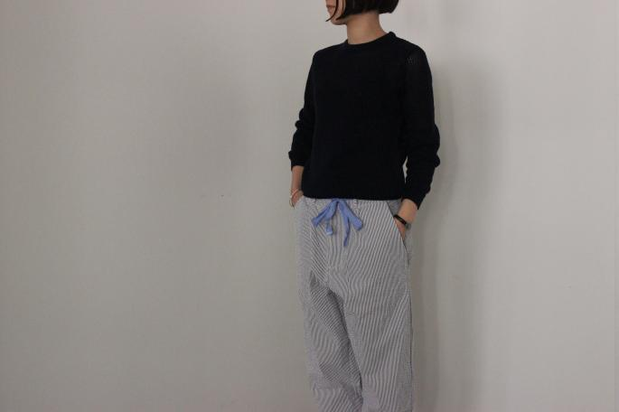 HEIGHT / 155cm<br /> WEAR SIZE / 1<br /> <br /> SUNSPEL<br /> Mix Stitch Eyelet Knit Jumper<br /> COLOR / Navy<br /> SIZE / 1<br /> Made In England<br /> PRICE / 28,000+tax<br /> <br /> GALLEGO DESPORTES<br /> Churchill<br /> COLOR / Blue<br /> SIZE / S,M<br /> Made In France<br /> PRICE / 32,000+tax