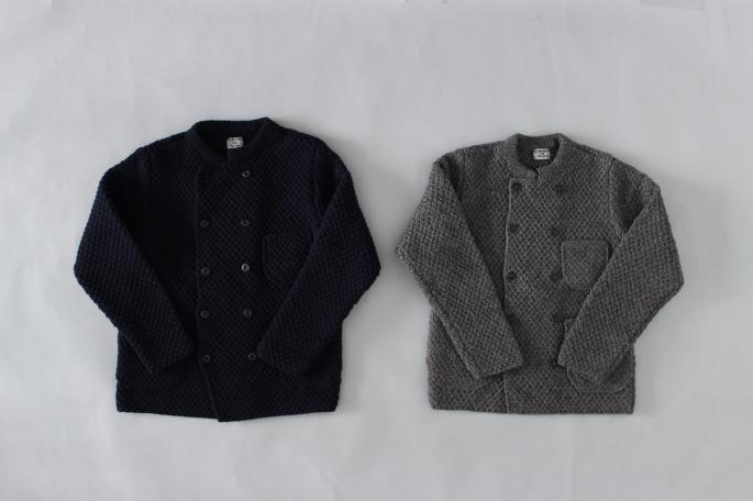 HEIGHT / 168cm<br /> WEAR SIZE /S<br /> <br /> Phlannel<br /> Hand Knitted Cook Jacket <br /> COLOR / Navy,Gray<br /> SIZE / S,M<br /> PRICE / 66,000+tax <br /> <br /> Knitting Yarn Twill Two-Tuck Trousers<br /> COLOR / Navy,Gray<br /> SIZE / S,M,L<br /> PRICE / 33,000+tax <br /> <br /> Made In Japan<br /> <br />