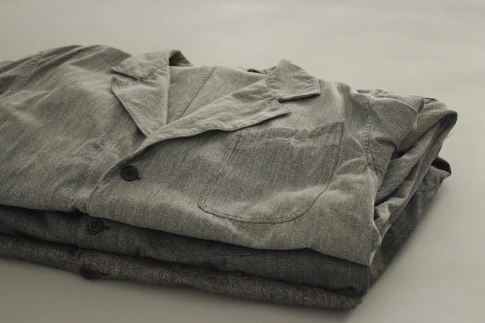 HIGHT / 173cm<br /> WEAR SIZE / 2<br /> <br /> Vintage<br /> Chambray Atelier Coat Salt&Pepper <br /> SIZE / 50相当<br /> Made In France<br /> PRICE / 34,000+tax<br /> <br /> OUTIL<br /> Pantalon Metz<br /> COLOR / Ecru<br /> SIZE / 1,2<br /> PRICE / 20,000+tax<br /> <br /> Tricot Brest<br /> SIZE / 2,3<br /> COLOR / White,Gitane,Wht/Gtn<br /> PRICE / 14,000+tax<br /> <br /> Made In France